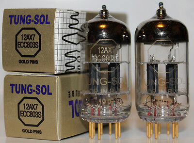 Tung Sol ECC803S/12AX7 Gold Pin tubes,Reissue,NEW, Matched Pair