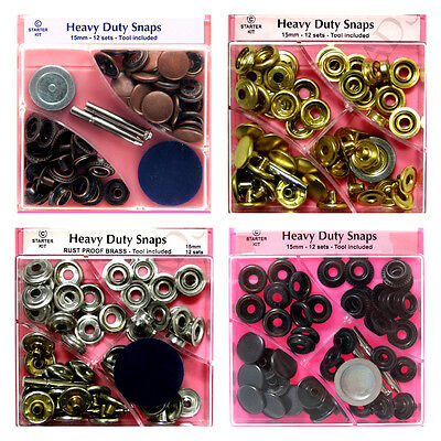 Heavy Duty Snaps 15mm x 12 Sets Jacket Poppers Fasteners Press Studs Choose Type