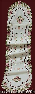 """Embroidered Rose Daisy Floral Cutwork Beige Table Runner 15x68"""" oval #3819"""
