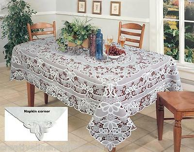 """Battenburg Lace with Sheer Grapes Tablecloth 70x104"""" ob & 8 Napkins White #3075"""