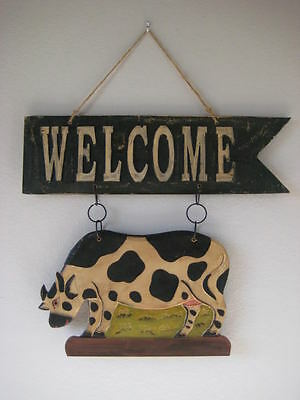 OVERSIZE Wooden Dairy Cow WELCOME Sign / Plaque - Farmhouse Decor **SALE**