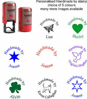 personalised handmade by stamp, 46025 self inking rubber asstd images/colours