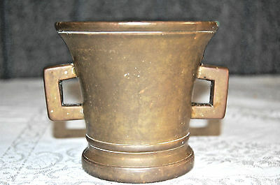 Antique, Early/Mid 18th C Bronze Mortar w/ Concentric Circles and handles S3843
