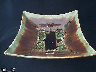 Large Retro Green & Brown Glazed Pottery Ashtray Serving Decorative Dish