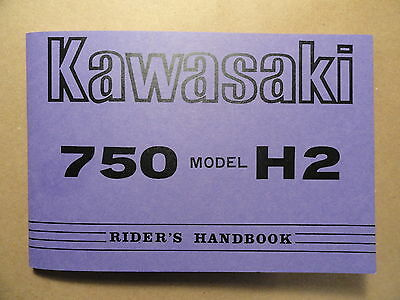 1973 Kawasaki 750 H2A Rider's Handbook Owner's Manual H2 A Riders Owners Shop