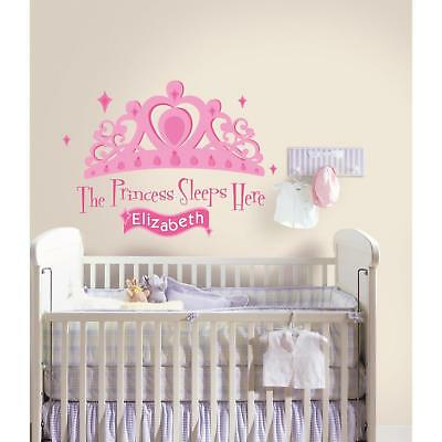 PRINCESS SLEEPS HERE Wall Stickers Personalized Name Banner BiG Pink Tiara Decal