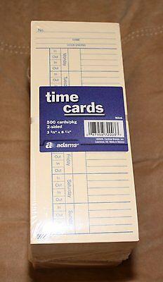 500 Ct Time Cards Punch Employee Payroll Amano clock 2 Sided Adams 9664A NEW