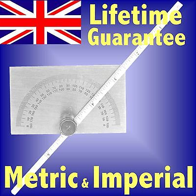 Silverline 150mm Protractor 180 degree angle & Depth gauge stainless steel