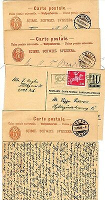 1888 x 4 & 1 1966 SWITZERLAND POSTAL STATIONERY CARDS ALL USED TO DENMARK