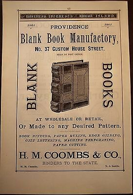 1881 Original Vintage AD Blank Book Manufactory & H.M. Coombs & Co. Rhode Island