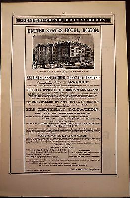 1881 Vintage AD United States Hotel in Boston Massachusetts