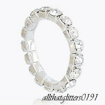 Clear Crystal / Diamante Encrusted Elasticated Toe Ring Silver Plated