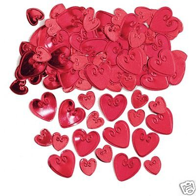 Red Loving HEARTS Table confetti embossed Ruby Wedding Confetti FREE P&P