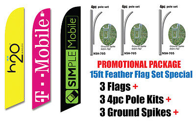 4 OPEN 24 HOURS blue 15/' SWOOPER #3 FEATHER FLAGS KIT with poles+spikes four