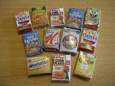 Miniature cereal boxes kit for 1:12th dolls house  6 or 12 boxes UK SELLER
