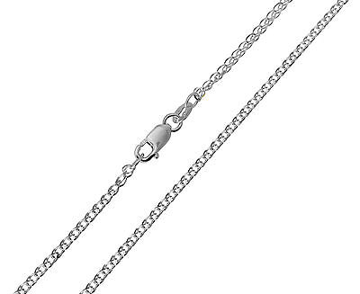 "14K Solid Real White Gold 1.5mm Flat Open wheat Chain Necklace 18"" Inches Women"