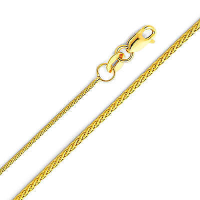 "14K Real Yellow Gold 0.9mm Braided Wheat Chain Necklace 18"" Inches for Women"