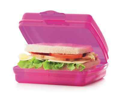 Tupperware Sandwich Keeper Pink Great for Crayons, Stickers & Toys Brand New