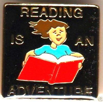 """READING IS AN ADVENTURE"" Book Enamel Lapel Pins, Wholesale Lot of 25, NEW!"