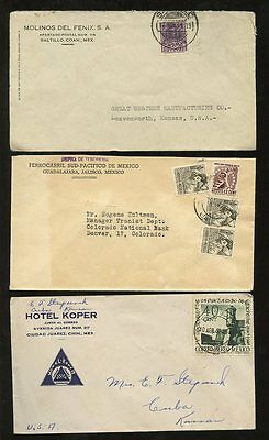 MEXICO 1936-55 ADVERTISING + PRINTED HOTELS etc...8 COVERS