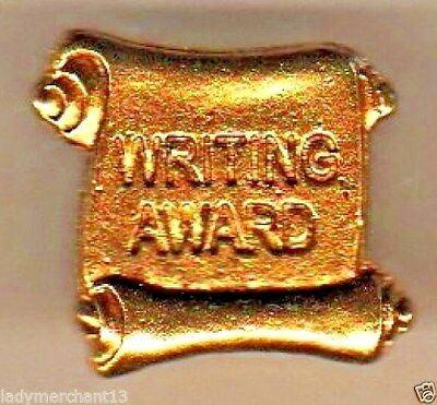 """WRITING AWARD"" Antique Gold Enamel Lapel Pins/WHOLESALE LOT OF 25/ALL NEW LINE!"