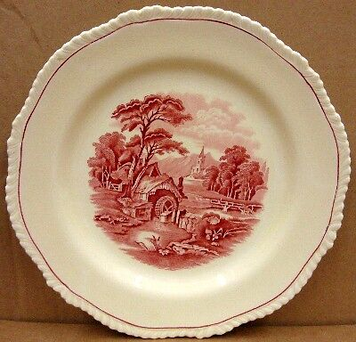 """WOODS & SONS THE GRENVILLE RED PINK 10 1/8"""" DINNER PLATE /S"""