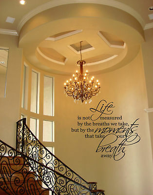 LIFE MOMENTS BREATHS  WALL QUOTE DECAL VINYL WORDS HOME