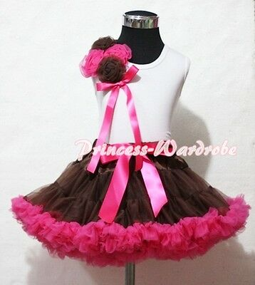 Brown Hot Pink Pettiskirt Skirt with Bunch Rosettes White Pettitop Top 1-8Year