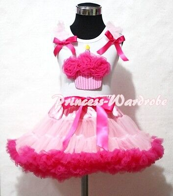 Light Hot Pink Pettiskirt Skirt White Top Hot Pink Birthday Cupcake Set 1-8Year