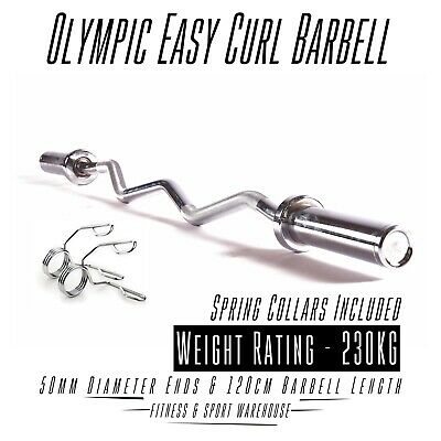 Olympic EZ Curl Barbell Home Gym Bar Weight Bench With Pair of Spring Collar