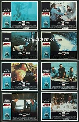 Jaws Spielberg Shark Horror 1975 Lobby Card Set Of 8 Nm