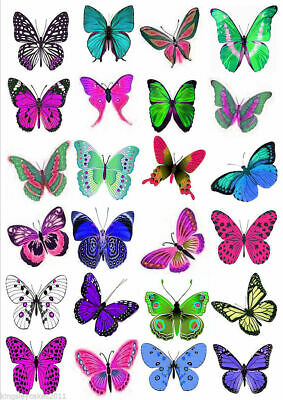 24 X 5Cms Larger Butterflies Vivid Colours Edible Cupcake Wedding Toppers L8