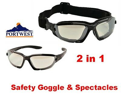 Portwest PW11 Levo 2 in 1 Safety Glasses / Goggles - Clear