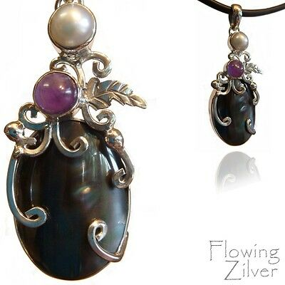 925 SOLID Sterling Silver Black Shell, Amethyst & Pearl Necklace Pendant Bali