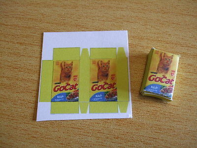 Miniature go cat biscuits food box kit modern 1/12th doll's house new  UK