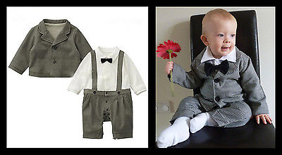Baby Grey Boy Wedding Christening Baptism Party Bow Tie Smart Suit Outfit 6-24m