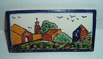 Fine Vintage Mexican GUEVARA HNOS Handpainted Clay Scenic Tile - Mexico