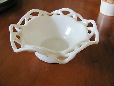 """Imperial Glass lace edged lattice footed bowl white milk glass 6"""" across"""