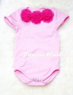 Infant Newborn Baby Light Pink Jumpsuit Romper with Optional Rosettes NB-12Month