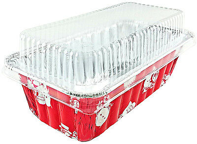 2 lb.Holiday X-Mas Aluminum Foil Loaf/Bread Pan w/Clear Dome Lid 50PK -RED COLOR