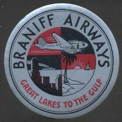 """Braniff Airways USA Old Luggage Label 2 3/4"""""""