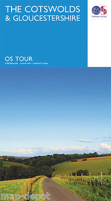 The COTSWOLDS and GLOUCESTERSHIRE Travel Map - OS - Ordnance Survey - NEW 2016