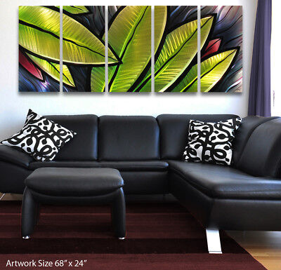 Modern Abstract Metal Wall Art Green Painting Sculpture Home Decor In/ Outdoor !