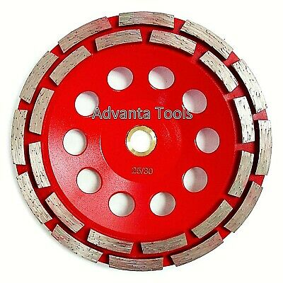 "7"" Double Row Concrete Diamond Grinding Cup Wheel for Angle Grinder - 7/8""-5/8"""