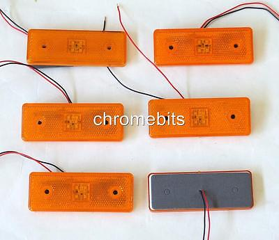 6 pcs 24 V 24V Orange Amber 4 LED Side Marker Reflector Truck Lorry Trailer