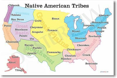 NEW American History Educational Classroom POSTER - Native American Tribes Map