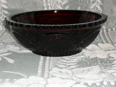 """8.75"""" AVON Cape Cod RUBY RED Glass SERVING BOWL"""