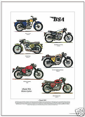 CLASSIC BSA MOTOR CYCLES - A3 Size Art Print - Gold Star Spitfire Rocket Clubman