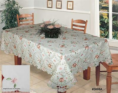 Spring Embroidered Pink Roses Daisy Floral Ivory Tablecloth + Napkins New #3888A