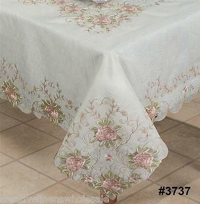 Spring Embroidered Pink Rose Floral Cutwork Sheer Tablecloth with Napkins #3737W